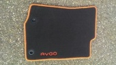 Genuine Toyota Aygo X 2014 Onwards Black Carpet Mats - Orange Twist - PZ41090356FO