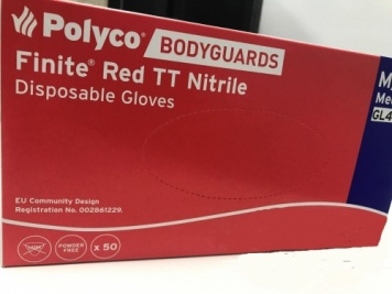 Genuine Polyco Bodyguards 400 Red Nitrile Powder Free Disposable Gloves Extra Large