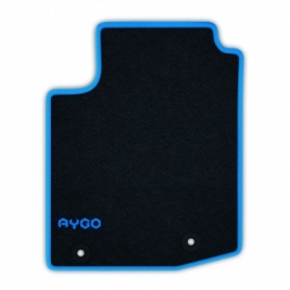 Genuine Toyota Aygo X 2014 Onwards Black Carpet Mats - Cyan - PZ41090356FP